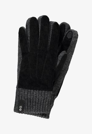MIT VELOURSLEDERBESATZ - Gloves - black