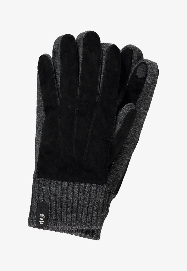 MIT VELOURSLEDERBESATZ - Gloves - black
