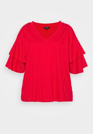 OVERSIZED FRILL SLEEVE - Print T-shirt - red