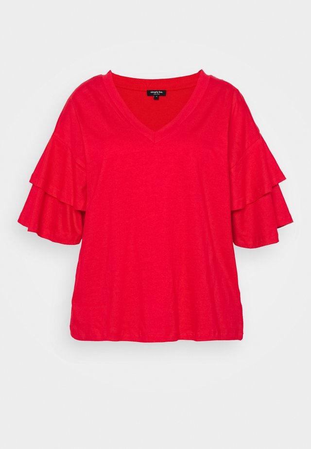 OVERSIZED FRILL SLEEVE - Printtipaita - red
