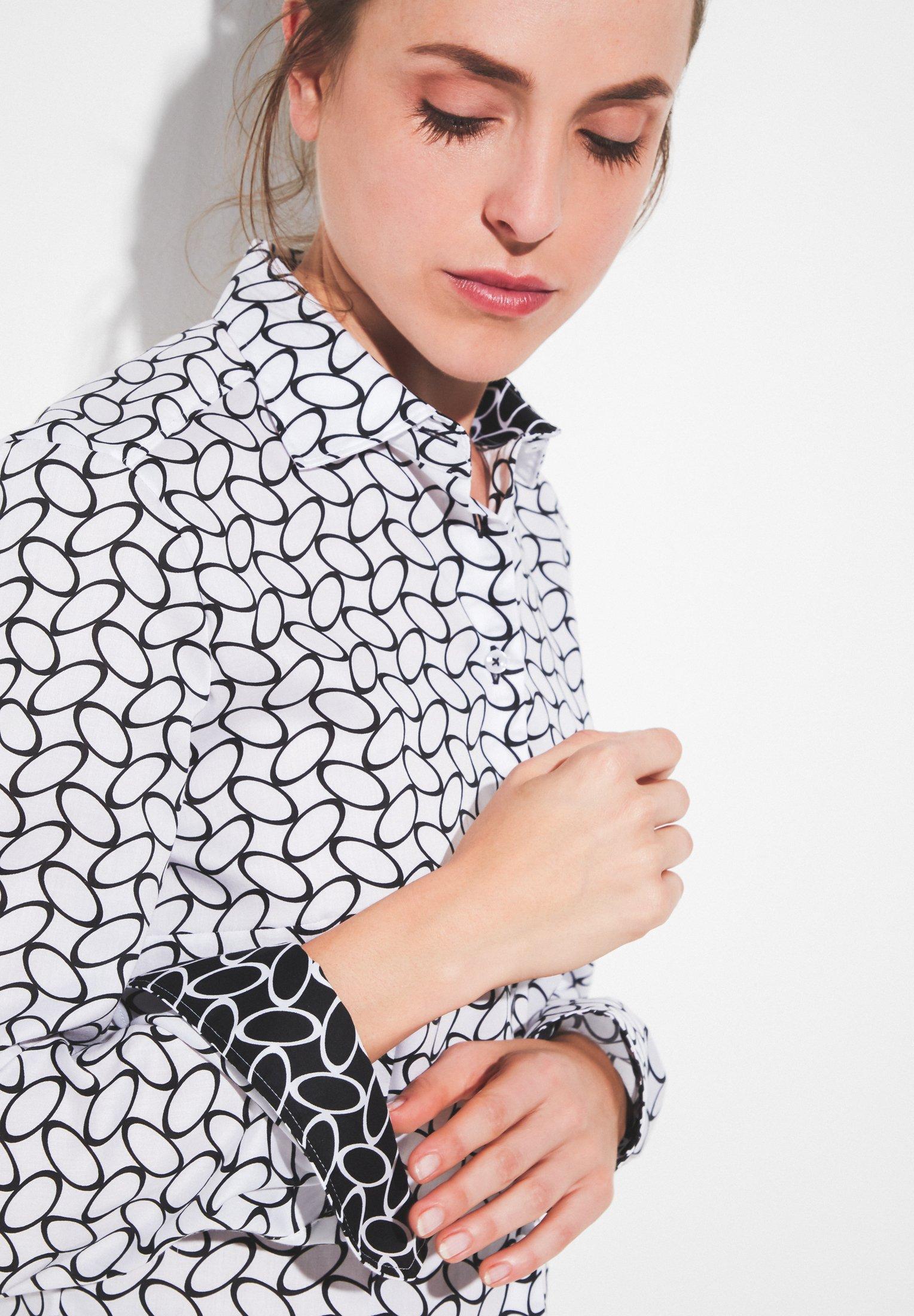 Eterna Overhemdblouse - weiß/schwarz - Dameskleding Oprecht