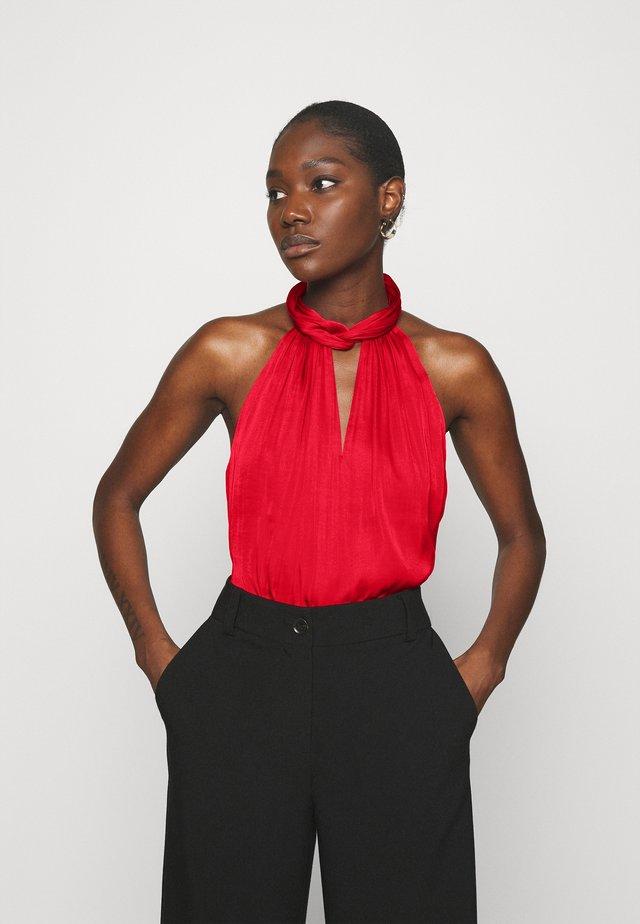 TWIST NECK HALTER  - Blouse - ultra red