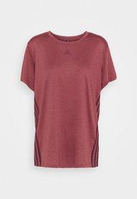 3 STRIPE TEE - Sportshirt - legred/maroon