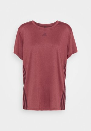 3 STRIPE TEE - Sports shirt - legred/maroon