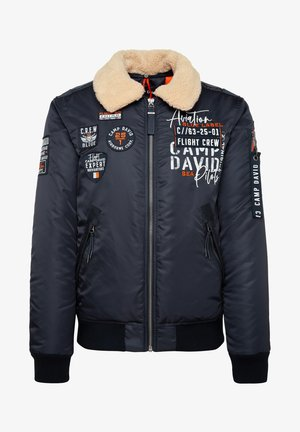 MIT ARTWORKS UND TEDDYKRAGEN - Winter jacket - blue navy