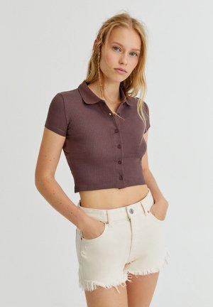 Button-down blouse - mottled dark brown
