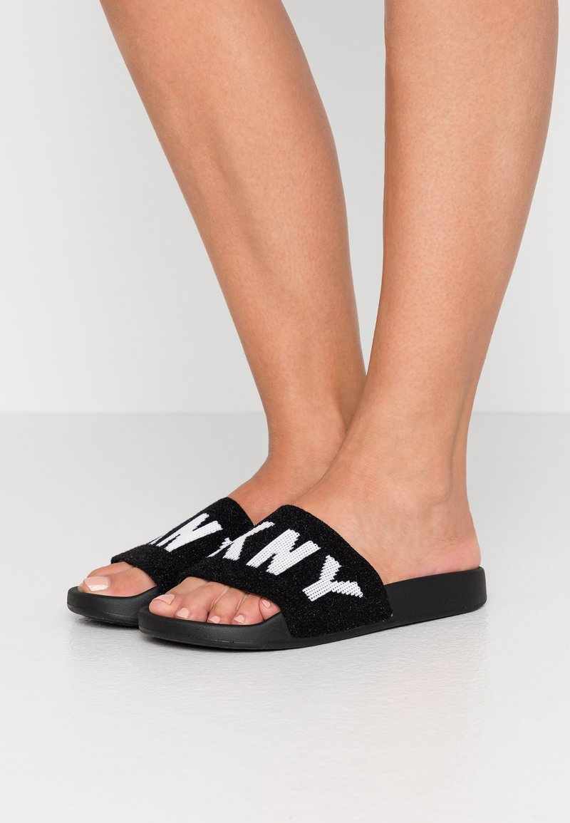 DKNY - ZAX SLIDE  - Sandaler - black/white