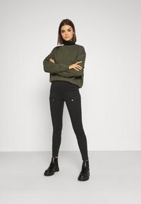 G-Star - BLOSSITE ARMY ULTRA HIGH SKINNY WMN - Trousers - dk black gd - 1