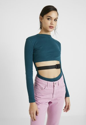 BUCKLE FRONT CUTOUT BODYSUIT - Long sleeved top - teal