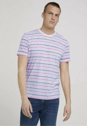 T-shirt print - plain red multicolor stripe