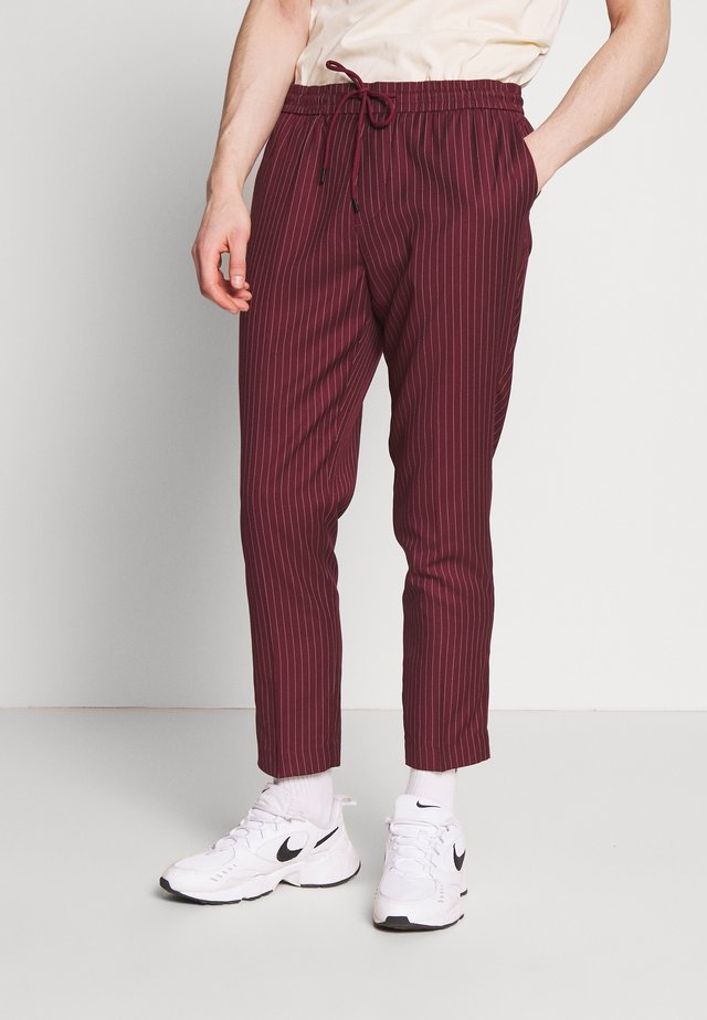 PIN STRIPE PULL ON - Trousers - dark burgundy