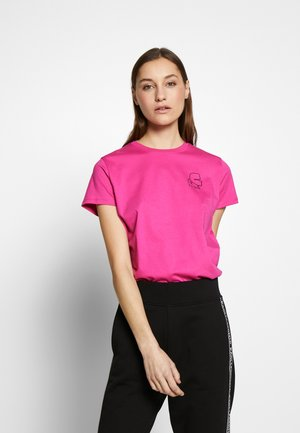 MINI KARL PROFILE RHINESTONE - T-shirts - bright pink