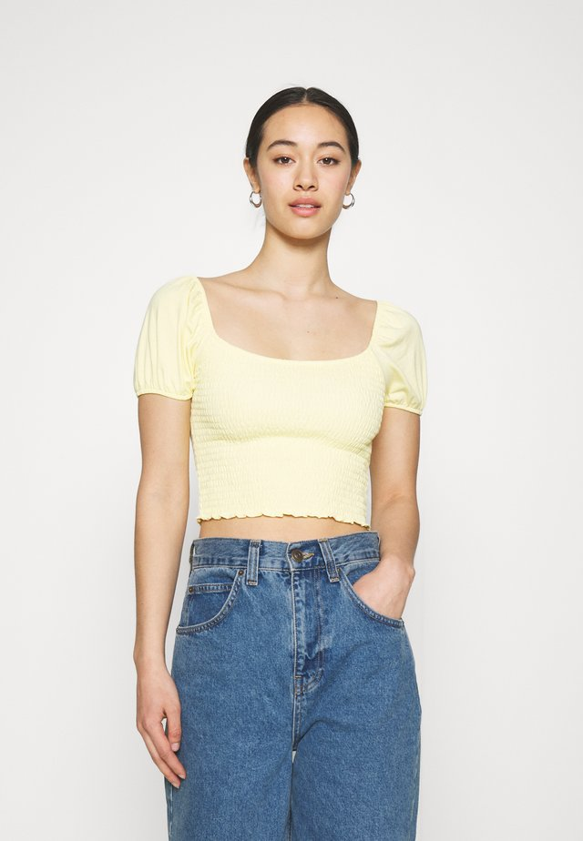 CAP SLEEVE SMOCK - T-shirt con stampa - yellow