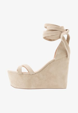 LEATHER - High heeled sandals - sand