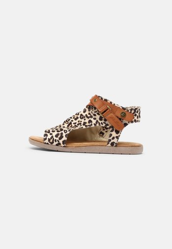 Sandals - cognac/leo