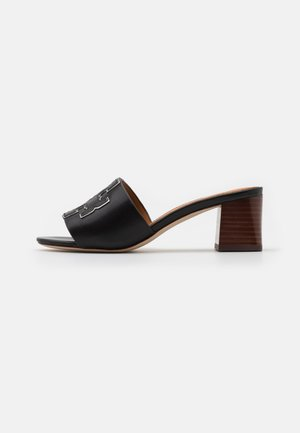 INES SLIDE - Pantofle na podpatku - perfect black/silver