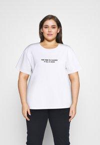 Dr.Denim Plus - MELROSE PLUS TEE - Print T-shirt - white - 0