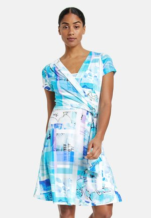 Jersey dress - blue curacao gemustert