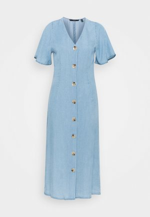 VMVIVIANA CALF DRESS - Denimové šaty - light blue denim