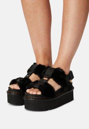 FRANCIS FLUFFY - Korkeakorkoiset sandaalit - black
