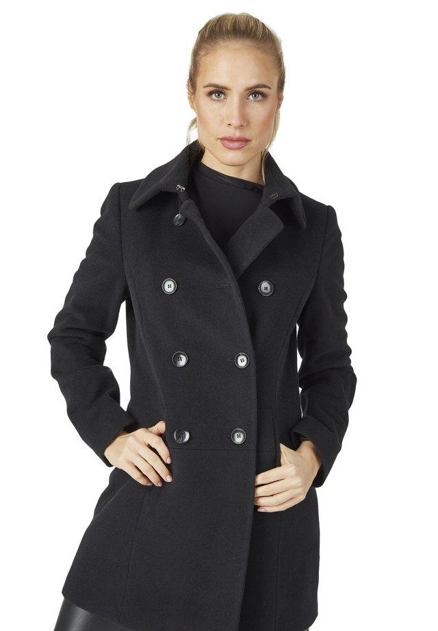 MIT ZWEIREIHIGER KNOPFLEISTE - Short coat - schwarz