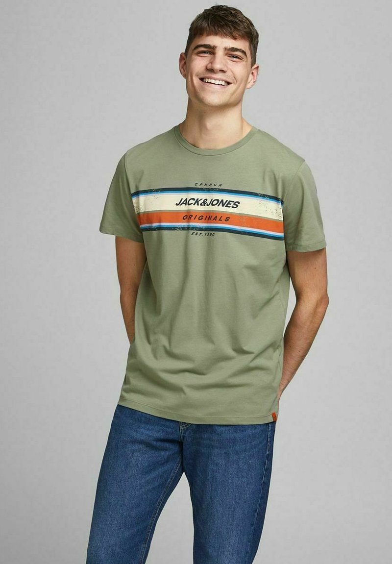Jack & Jones - JORTYLER TEE CREW NECK  - Print T-shirt - sea spray