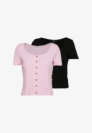 QUINNY TOP 2 PACK - T-shirt imprimé - pink light/black
