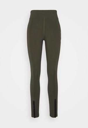 LEGASEE ZIP - Leggings - cargo khaki/white