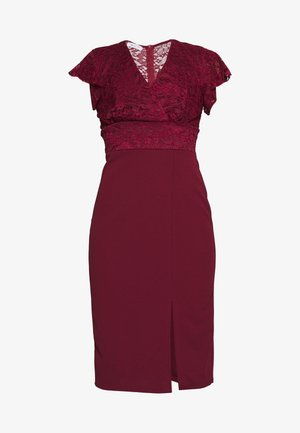 V NECK LACE TOP DRESS - Vestito elegante - bungundy