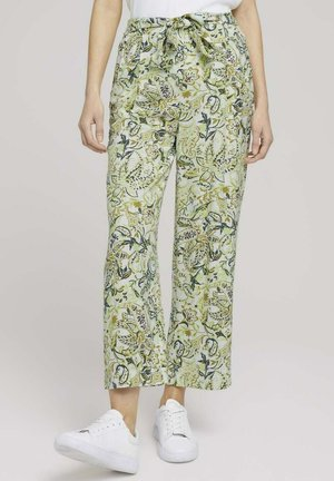 Trousers - green paisley design