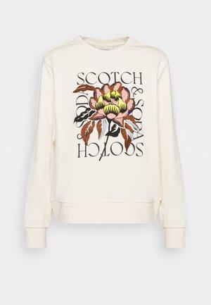 REGULAR CREWNECK WITH EMBROIDERY - Sweatshirt - off white