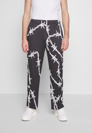 BARBED WIRE PLISSE WIDE LEG - Broek - black