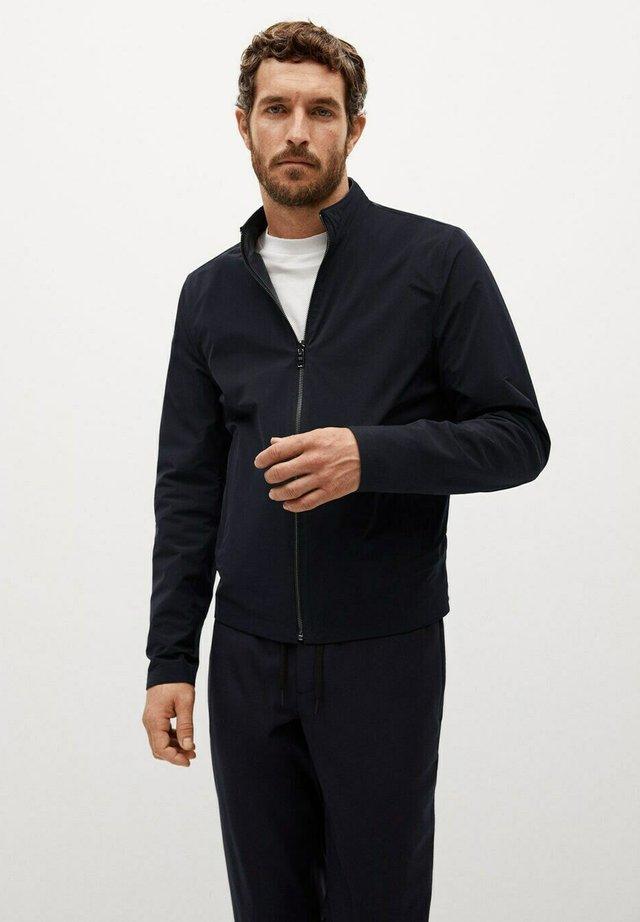 Leather jacket - bleu marine foncé