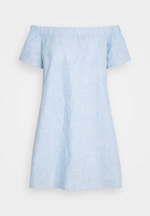 CHAMBRAY BARDOT MINI DRESS - Vardagsklänning - blue
