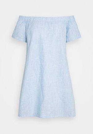 CHAMBRAY BARDOT MINI DRESS - Vestido informal - blue