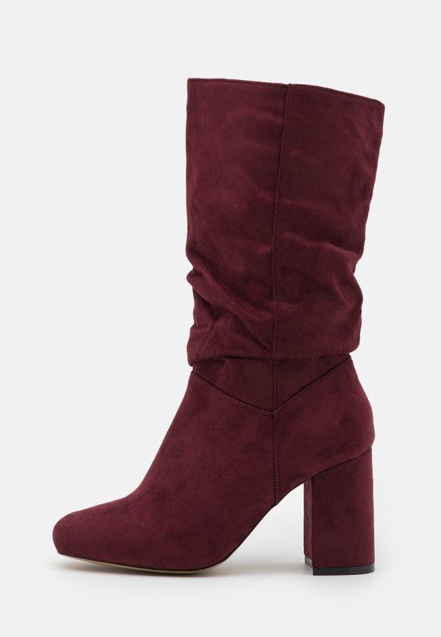 BLOCK BOOT - Vysoká obuv - burgundy