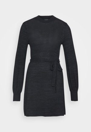 BELTED COZY DRESS - Strikket kjole - black