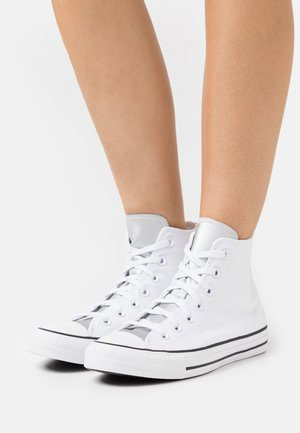 CHUCK TAYLOR ALL STAR MONO METAL - Korkeavartiset tennarit - white/pure silver/black