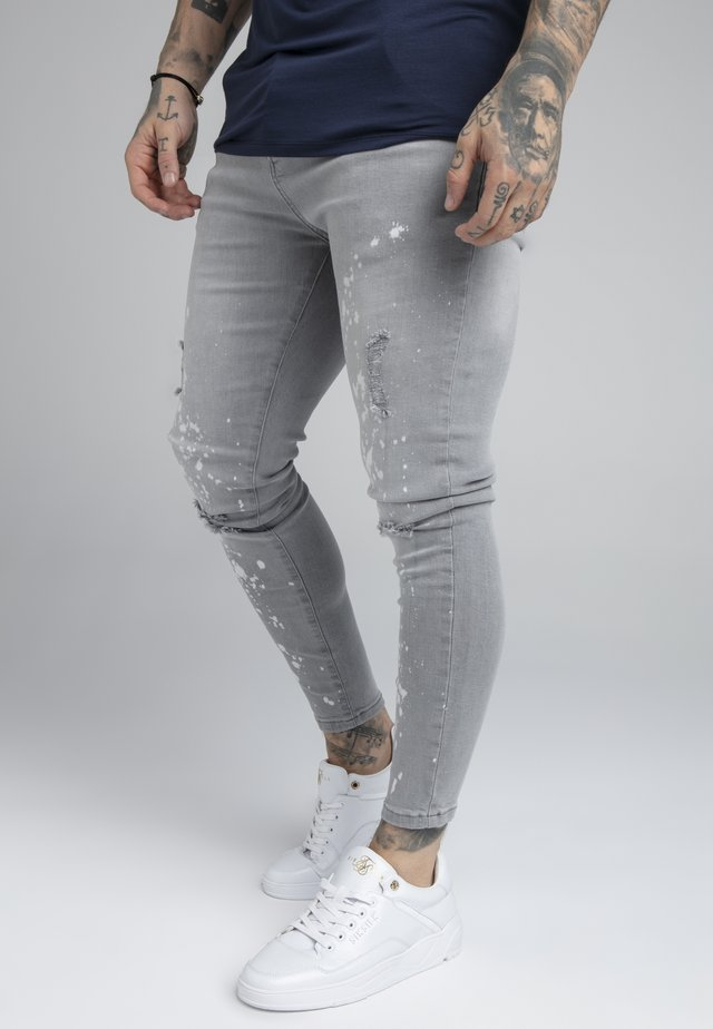 BLEACH SPLAT RIPPED KNEE - Jeans Skinny - washed grey