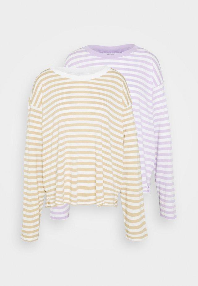 MAJA 2 PACK - Pitkähihainen paita - lilac/solid white