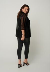 Zizzi - WITH 3/4 LENGTH PUFF SLEEVES - Button-down blouse - black - 2