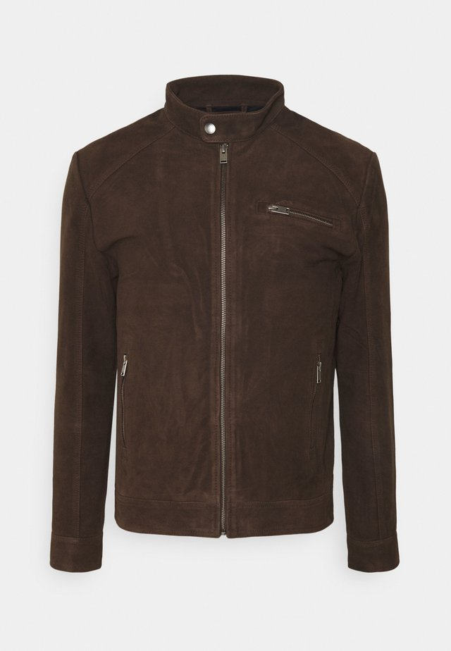 CLASSIC JACKET  - Leather jacket - coffee bean