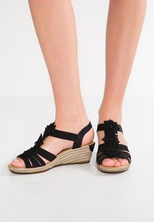 Sandály na klínu - schwarz