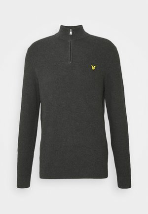 MOSS STITCH ZIP JUMPER - Svetr - charcoal marl