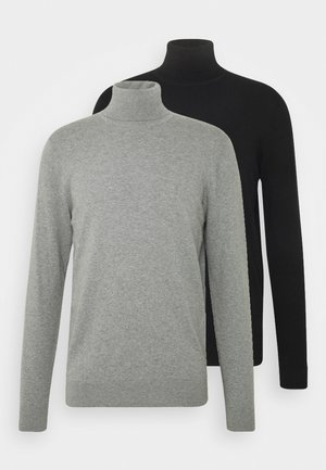 2 PACK - Jersey de punto - black/mottled light grey