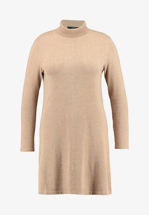 VMHAPPY ROLLNECK DRESS - Jumper dress - tobacco brown/melange