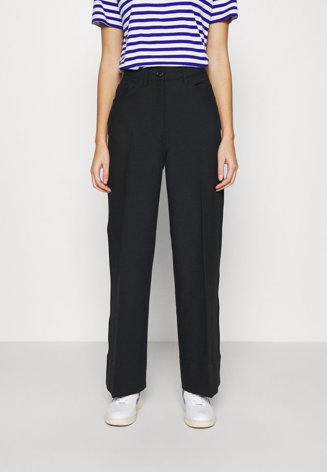 WIDE LEGGED TROUSER - Pantalones - black dark