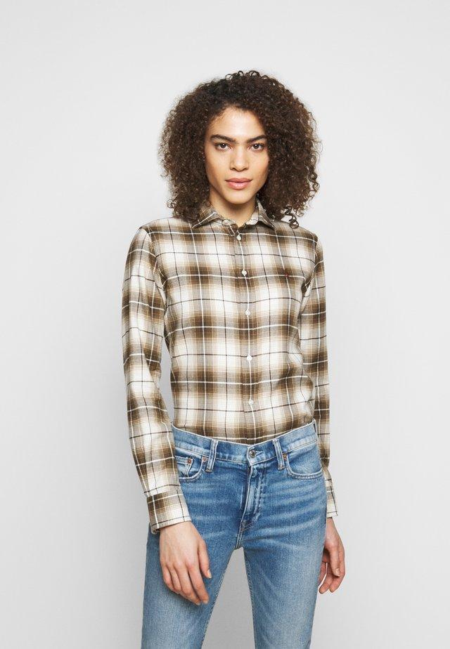 Button-down blouse - brown/tan