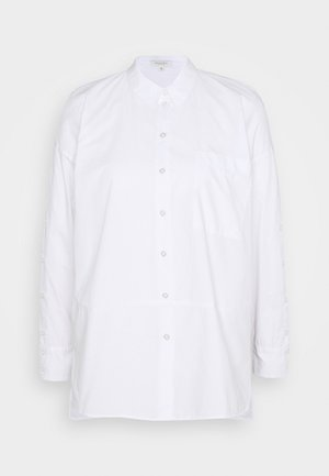 BLOUSE LOOSE BUTTON PANEL - Button-down blouse - white