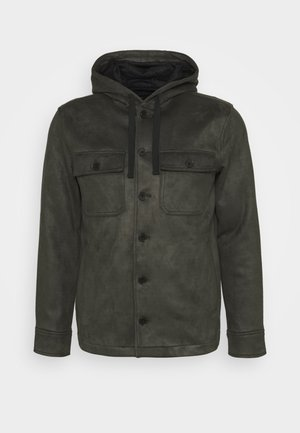 BUTTON HOOD - Imitatieleren jas - wilderness green